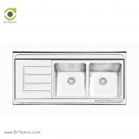 سینک ظرفشویی روکار ایلیا استیل مدل 1062 <br> ( ابعاد 60×120 سانتیمتر)