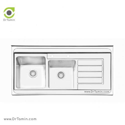 سینک ظرفشویی روکار ایلیا استیل مدل 1063 <br> ( ابعاد 60×120 سانتیمتر)