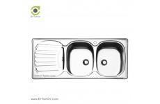 سینک ظرفشویی توکار ایلیا استیل مدل 2010 (ابعاد 50×120 سانتیمتر)