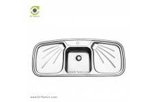 سینک ظرفشویی توکار ایلیا استیل مدل 2011 (ابعاد 51×116 سانتیمتر)