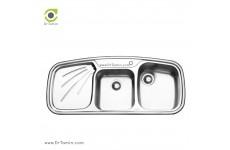 سینک ظرفشویی توکار ایلیا استیل مدل 2013 (ابعاد 51×116 سانتیمتر)