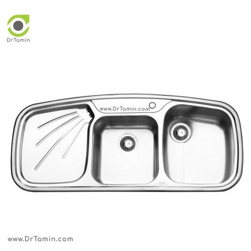 سینک ظرفشویی توکار ایلیا استیل مدل 2013 <br> ( ابعاد 51×116 سانتیمتر)