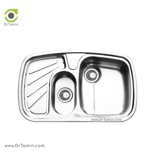 سینک ظرفشویی توکار ایلیا استیل مدل 2018 <br> ( ابعاد 50×80 سانتیمتر)