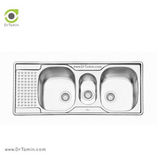 سینک ظرفشویی توکار ایلیا استیل مدل 2026 <br> ( ابعاد 50×120 سانتیمتر)