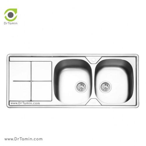 سینک ظرفشویی توکار ایلیا استیل مدل 2041 <br> ( ابعاد 50×120 سانتیمتر)