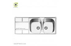 سینک ظرفشویی توکار ایلیا استیل مدل 2042 (ابعاد 50×120 سانتیمتر)