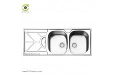 سینک ظرفشویی توکار ایلیا استیل مدل 2045 (ابعاد 50×120 سانتیمتر)