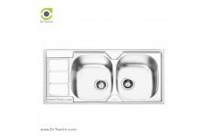 سینک ظرفشویی توکار ایلیا استیل مدل 2051 (ابعاد 50×100 سانتیمتر)