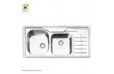 سینک ظرفشویی توکار ایلیا استیل مدل 2057 (ابعاد 50×100 سانتیمتر)