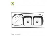 سینک ظرفشویی روکار ایلیا استیل مدل 3013 (ابعاد 60×120 سانتیمتر)