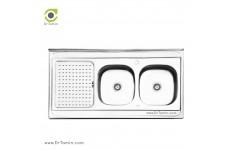 سینک ظرفشویی روکار ایلیا استیل مدل 3025 (ابعاد 60×120 سانتیمتر)