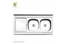 سینک ظرفشویی روکار ایلیا استیل مدل 3028 (ابعاد 60×120 سانتیمتر)