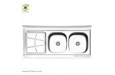 سینک ظرفشویی روکار ایلیا استیل مدل 3030 (ابعاد 60×120 سانتیمتر)