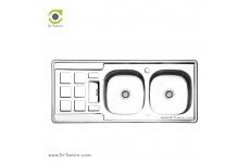 سینک ظرفشویی توکار ایلیا استیل مدل 4021 (ابعاد 50×120 سانتیمتر)