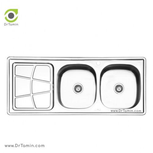 سینک ظرفشویی توکار ایلیا استیل مدل 4030 <br> ( ابعاد 50×120 سانتیمتر)
