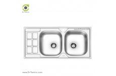 سینک ظرفشویی توکار ایلیا استیل مدل 4053 (ابعاد 50×100 سانتیمتر)