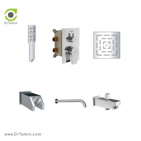 شیر حمام توکار شودر تیپ 4 مدل رومر کروم - Brass2