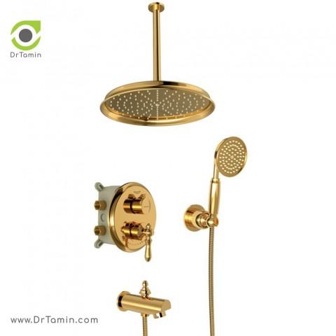 شیر حمام توکار شودر تیپ 4 مدل زیگموند طلا - Brass