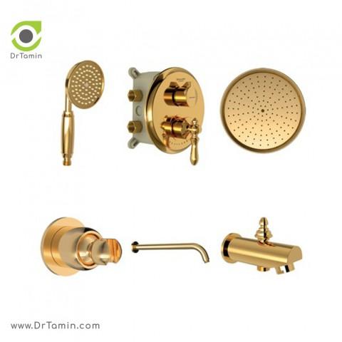 شیر حمام توکار شودر تیپ 4 مدل زیگموند طلا - Brass2
