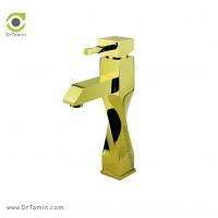 شیر روشویی ایزی پایپ <br> ( مدل اسپیرال طلایی براق)