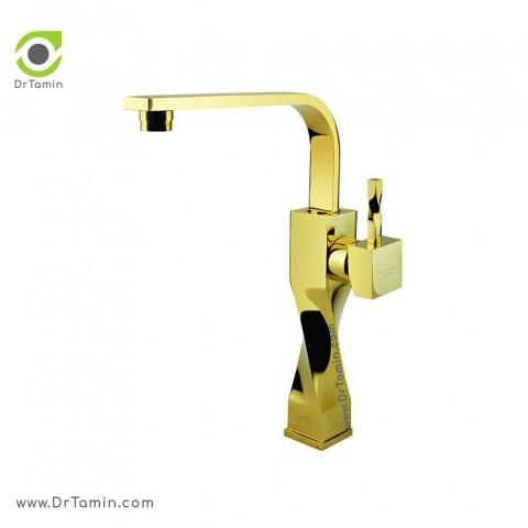 شیر سینک «آشپزخانه» ایزی پایپ   ( مدل اسپیرال طلایی براق)